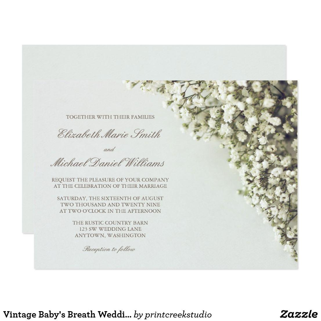 Vintage Baby S Breath Wedding Invitations Zazzle Com In 2020 Babys Breath Wedding Vintage Wedding Invitations Wedding Invitations