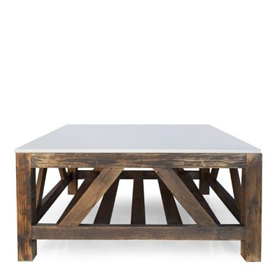 vineyard house coffee table made of salvaged barn wood features a