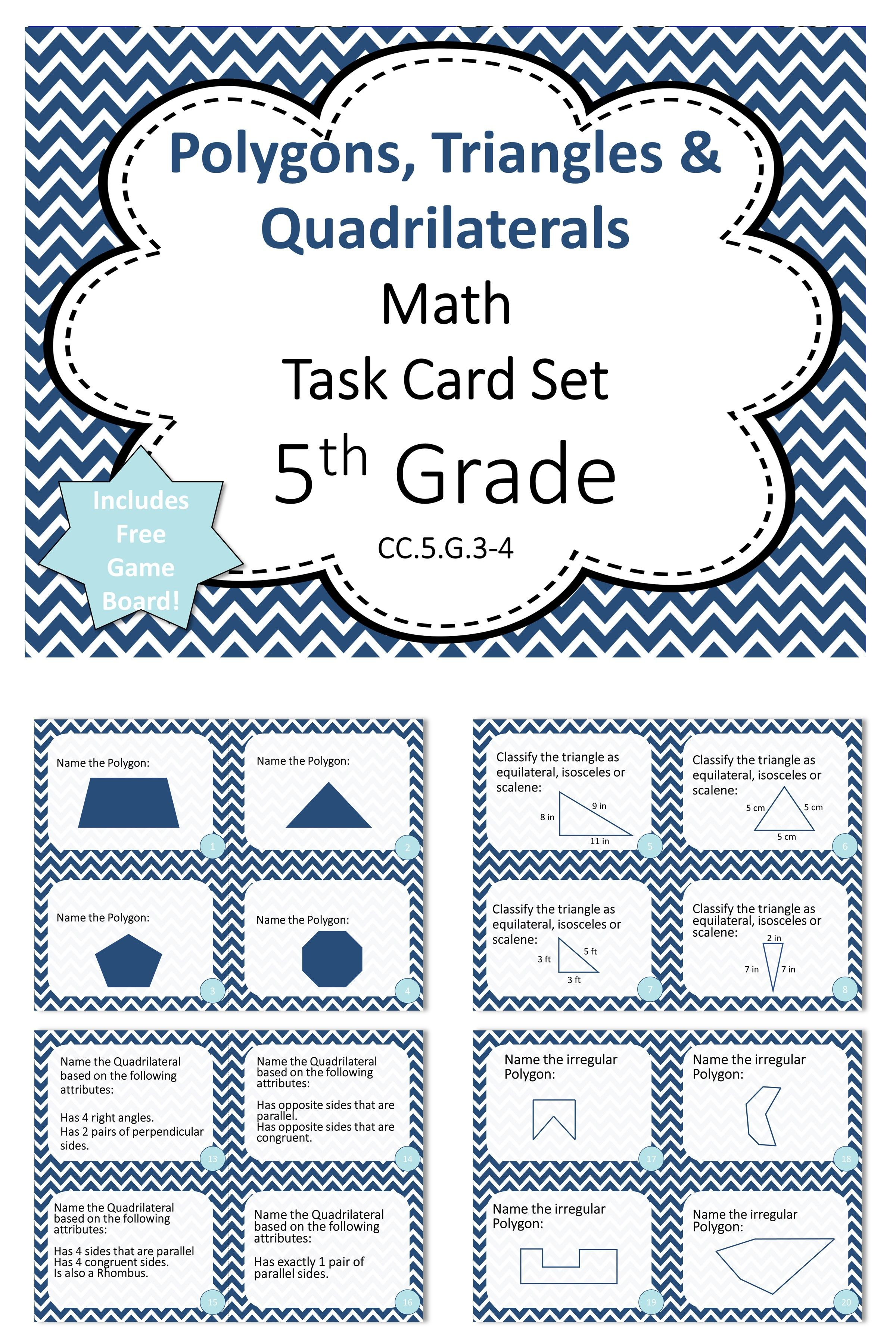 5th Grade Polygons Triangles And Quadrilaterals Math Task