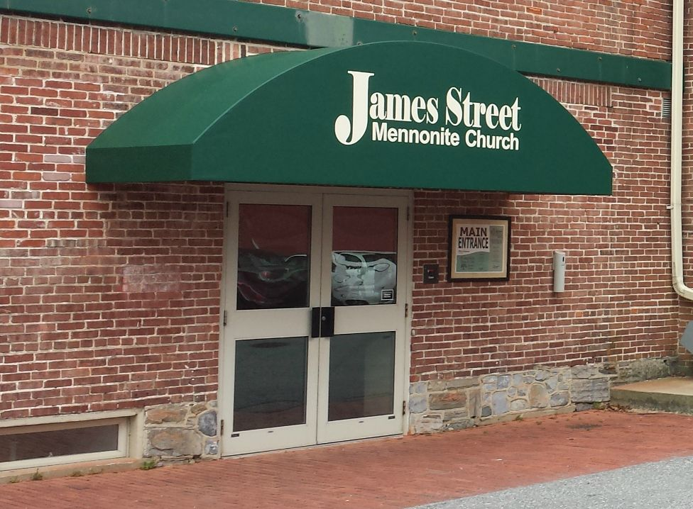 Welded Frame Rounded Design Commercial Door Hood Awning Installed Over An Entrance At A Church In Lancaster Pa By Krei Awning Over Door Entrance Awnings Awning