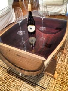Wine Barrel glass coffee table with 12mm tempered glass wine