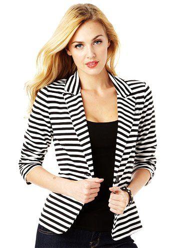 Collection Black White Striped Blazer Pictures - Reikian
