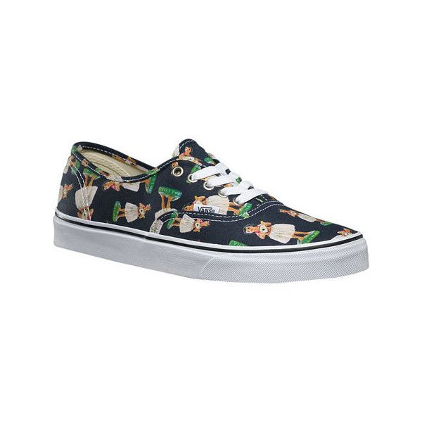 Vans Authentic Sneaker - Digi Hula Parisian Night/True White Canvas... ($55) ❤ liked on Polyvore featuring shoes, sneakers, vans oxfords, canvas lace up sneakers, vans sneakers, oxford sneakers and canvas shoes