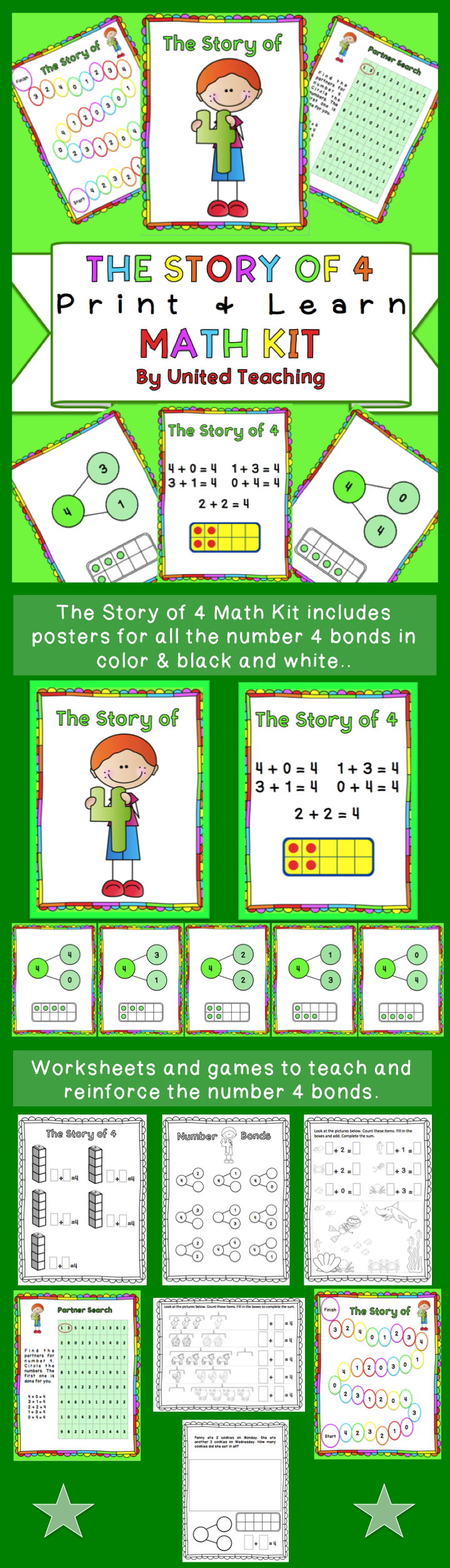 The Story of 4 Print + Learn Math Kit