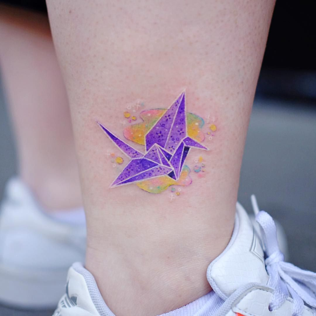 Origami Crane 🐥 Thanks Cathy ! . Done at blkserum with