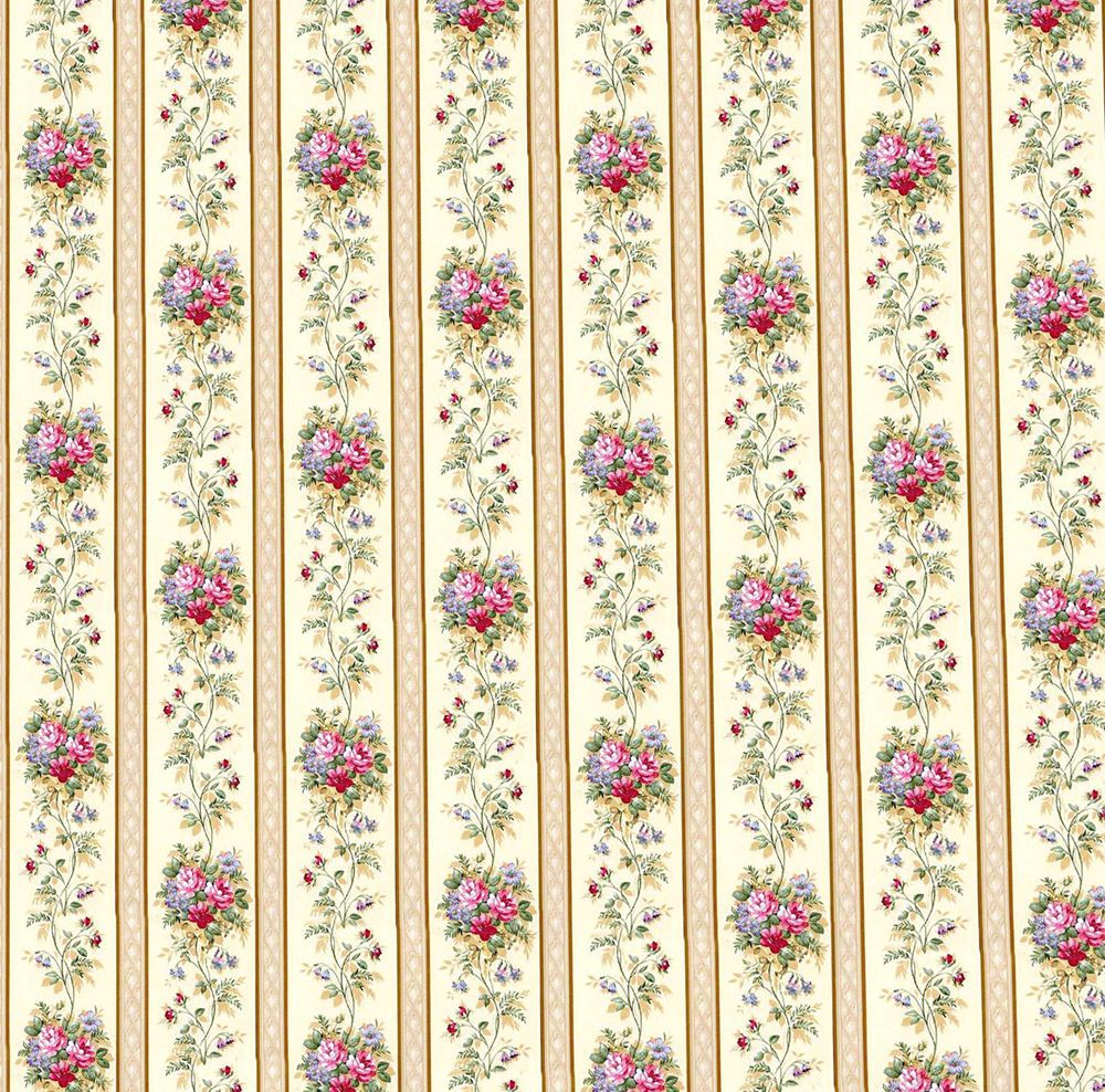Dolls House Wallpaper 1 12th 1 24th Scale Cream Floral Quality Paper 39 | eBay