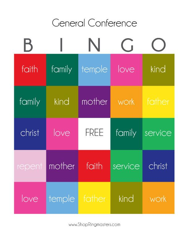 Help keep the little ones focused during General Conference! General Conference BINGO