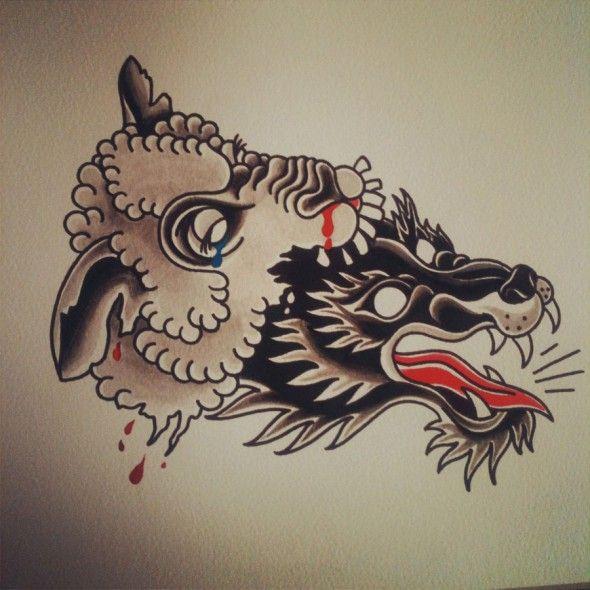Wolf In Sheeps Clothing Alexis Camburn Tattoo Lobo Tatuagem Tatoo Flash De Tatuagem