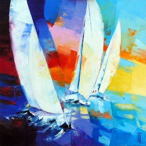 Peinture Pierrick Tual Course Aux Voiliers Art Whimsical