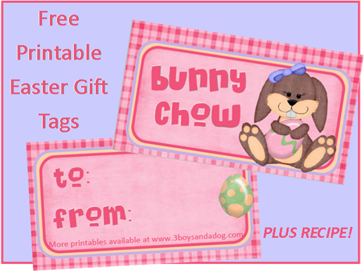 Bunny chow free printable easter gift tags free printable easter bunny chow free printable easter gift tags negle Images