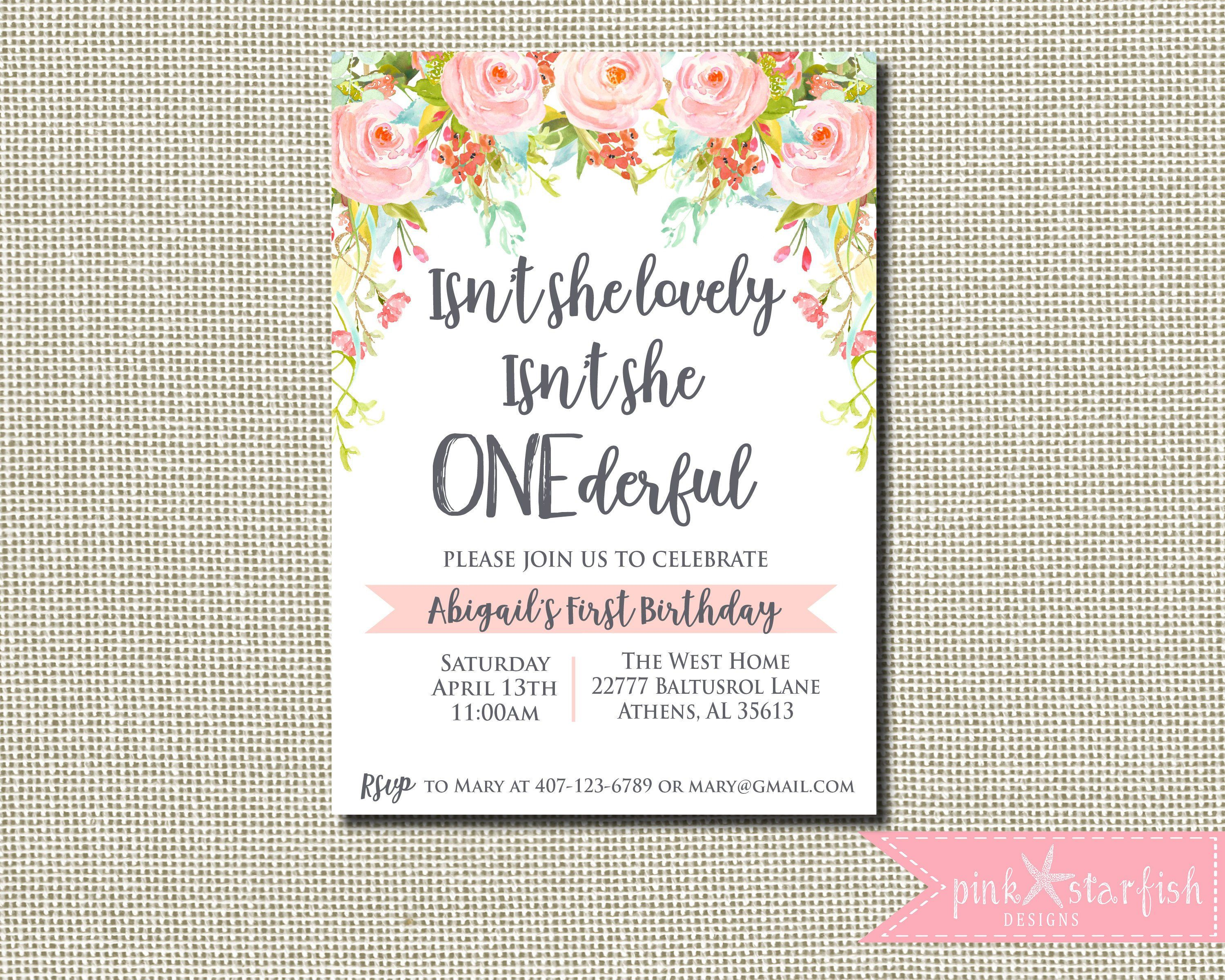 Onederful Invitation, ONEderful Year, Isn't she lovely invite, Isn't she onederful, girl first birthday, Onederful Birthday Invitation #firstbirthdaygirl