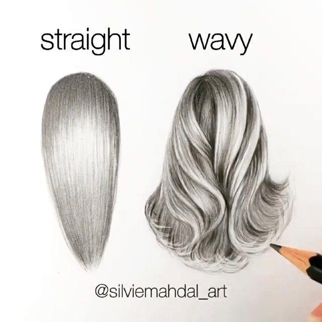 draw hair straight wavy