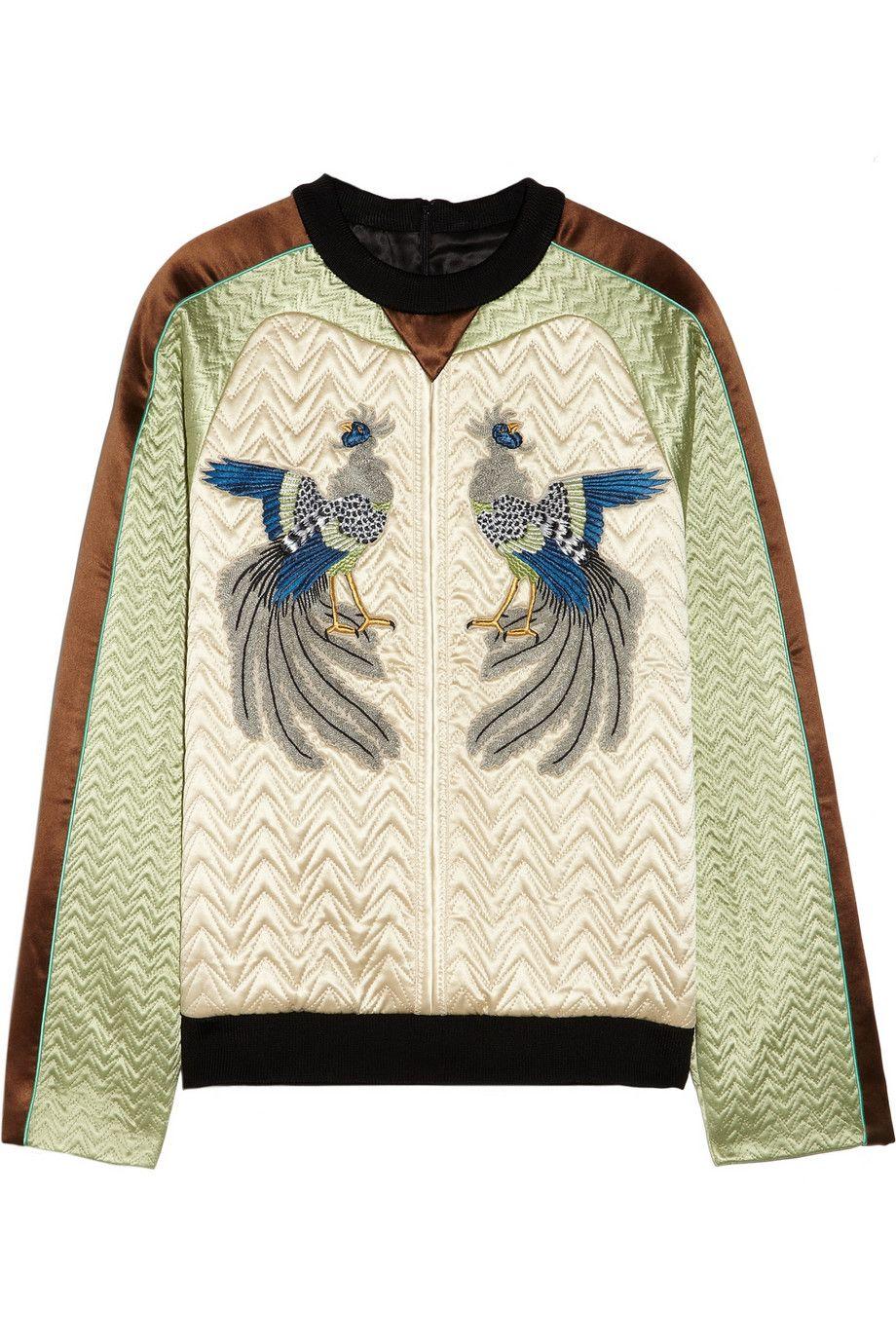 Proenza Schouler Embroidered quilted silk-satin sweatshirt