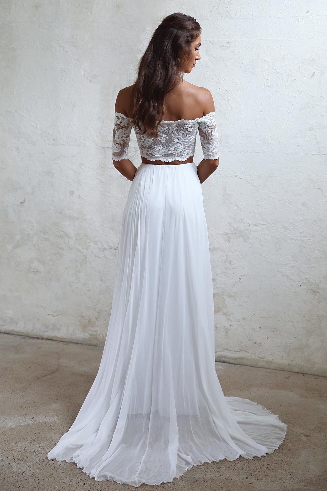 Long wedding dress lace wedding dress chiffon bridal dress off