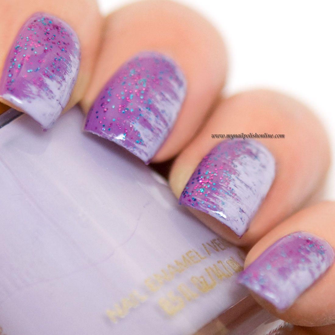 Nail Art - Fan brush on purple | Fan brush, Nail polish online and ...