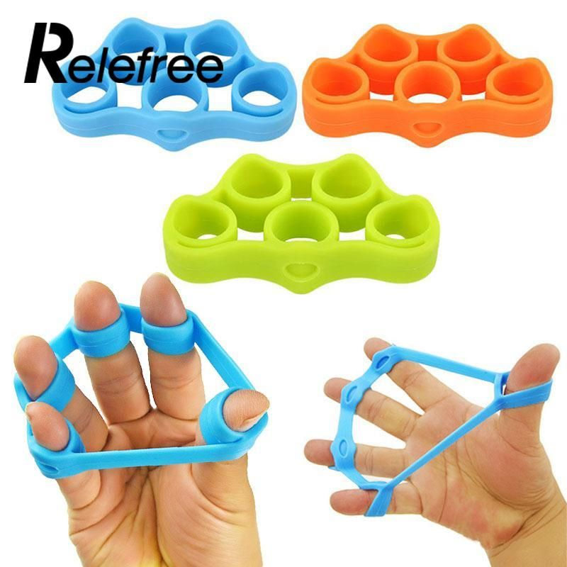 Silicone Finger Gripper Strength Resistance Band Hand Grip Wrist Stretch Blue