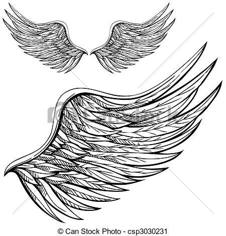 Vector - Cartoon Angel Wing - stock illustration, royalty free illustrations, stock clip art icon, stock clipart icons, logo, line art, EPS picture, pictures, graphic, graphics, drawing, drawings, vector image, artwork, EPS vector art