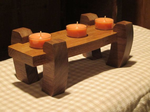 Walnut U0026 Oak Candle Stand Holder Classy Dinning Room Decor Elegant Table By  Nowcreations On Etsy