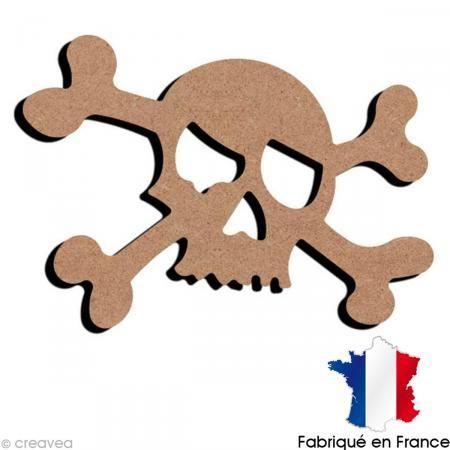 Tête de mort en bois - 16,3 x 11,7 cm - Photo n°1
