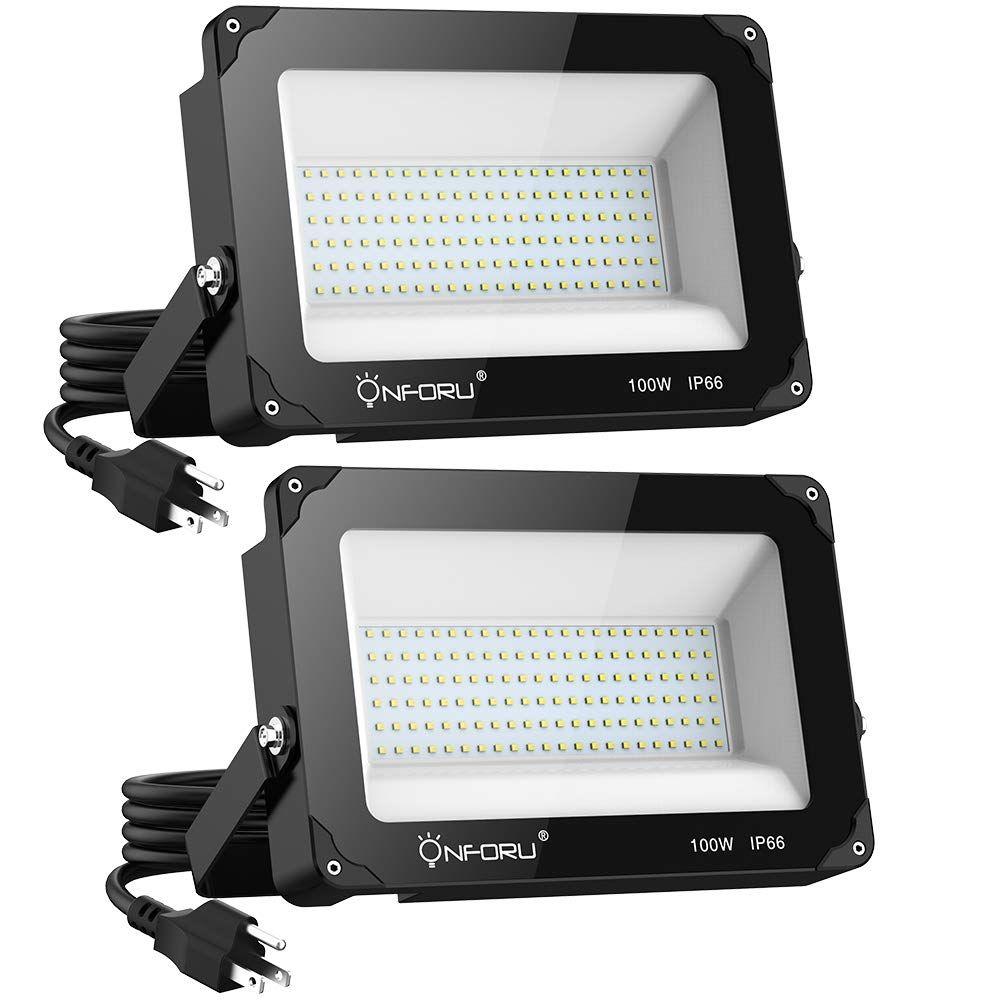 Onforu 2 Pack 100w Led Flood Light With Plug 10000lm 5000k Daylight White Ip66 Waterproof Super Bright Secu Led Flood Security Lights Outdoor Security Lights