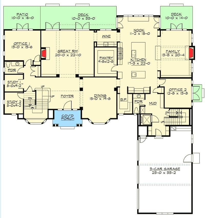Two Story 5 Bedroom Traditional Colonial Home Floor Plan In 2020 House Plans Floor Plans House Floor Plans
