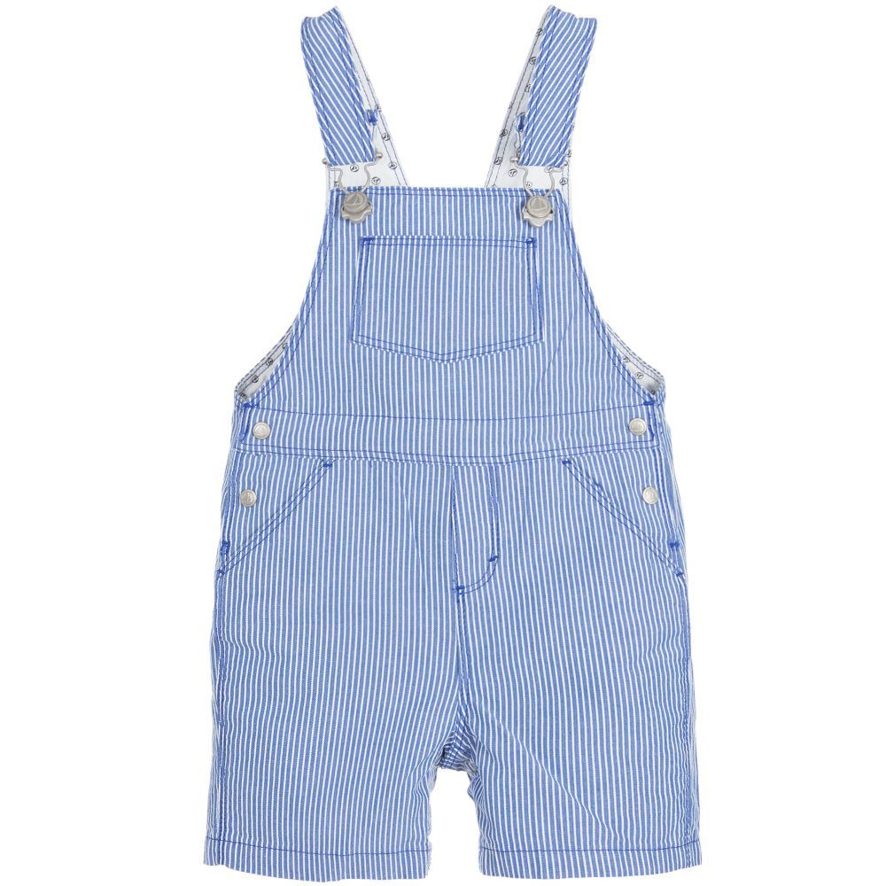 Baby Boys Striped Blue Dungarees   Kids online and Babies