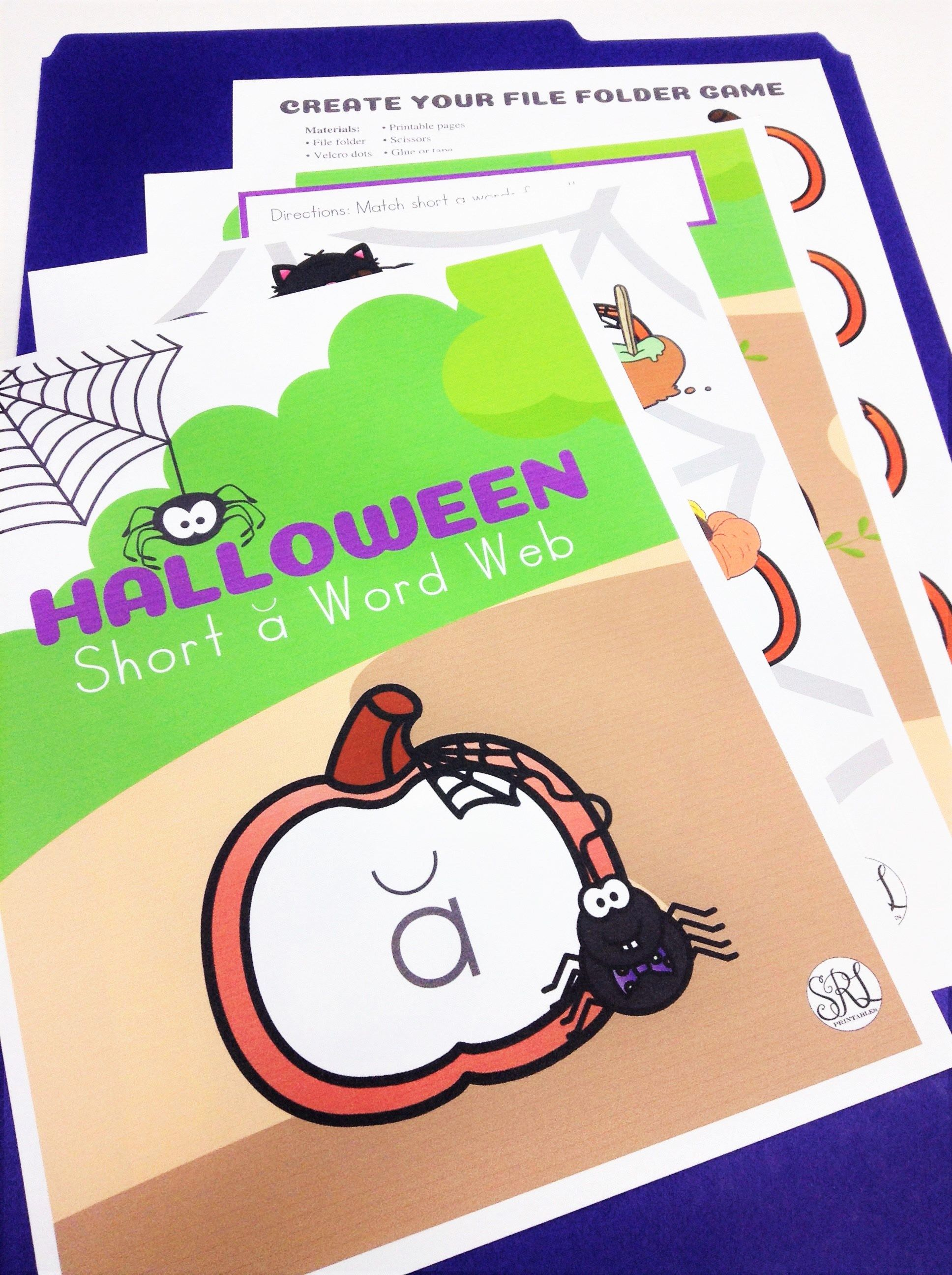 Halloween File Folder Game Short A Phonics Center