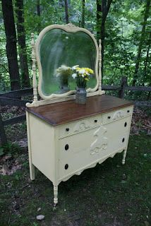 Best Roots And Wings Furniture Blog No 130 Antique Dresser And Mirror In Yellow Painting 400 x 300