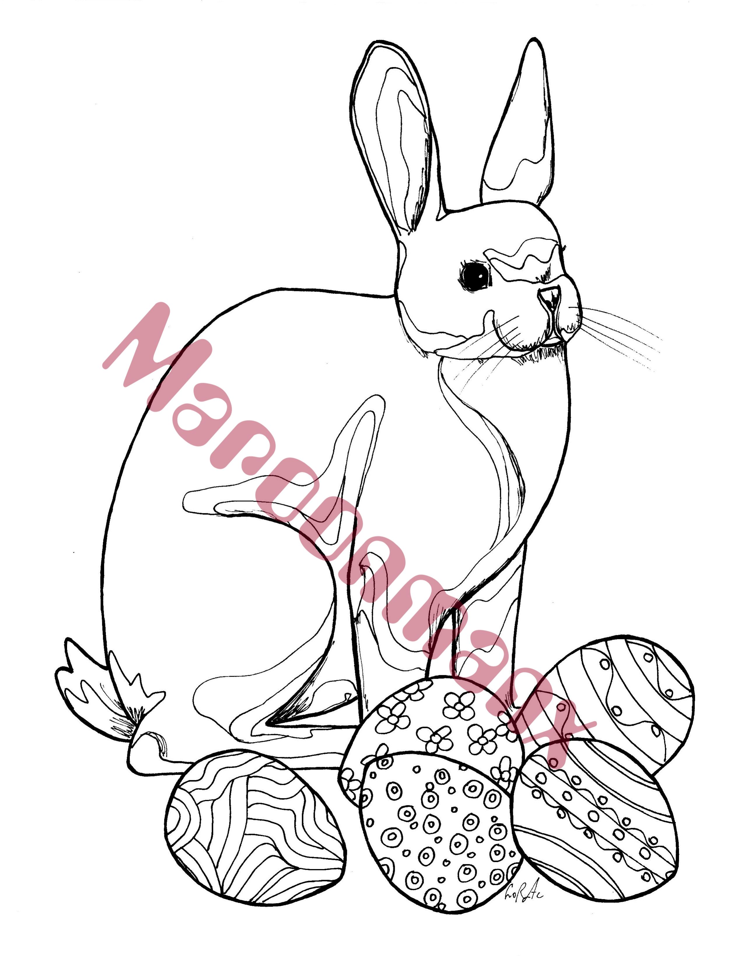 Easter Bunny With Eggs Coloring Page Animal Easter Bunny Doodle