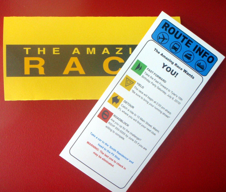 Amazing race ideas - Amazing Race Custom Clue Card Birthday Invitation 24 99 Via Etsy