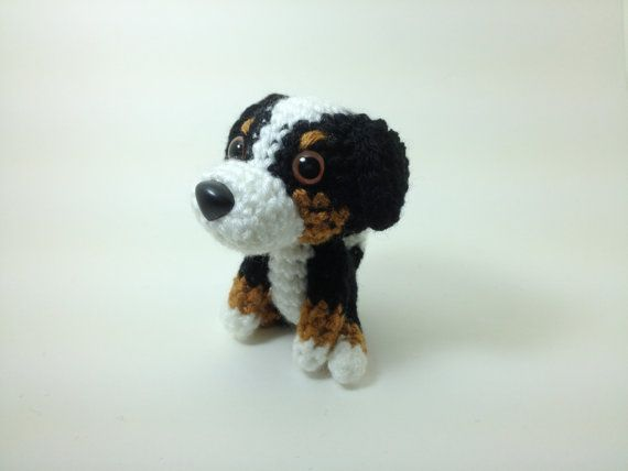 Bernese Mountain Crochet Dog Stuffed Animal Handmade Amigurumi Puppy