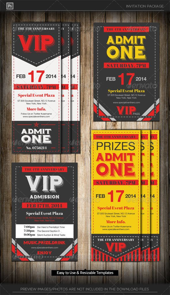 Admit One Vip Ticket Invitation Template | Vip Tickets, Ticket