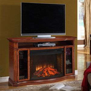 Stewart Electric Fireplace Media Console In Burnished