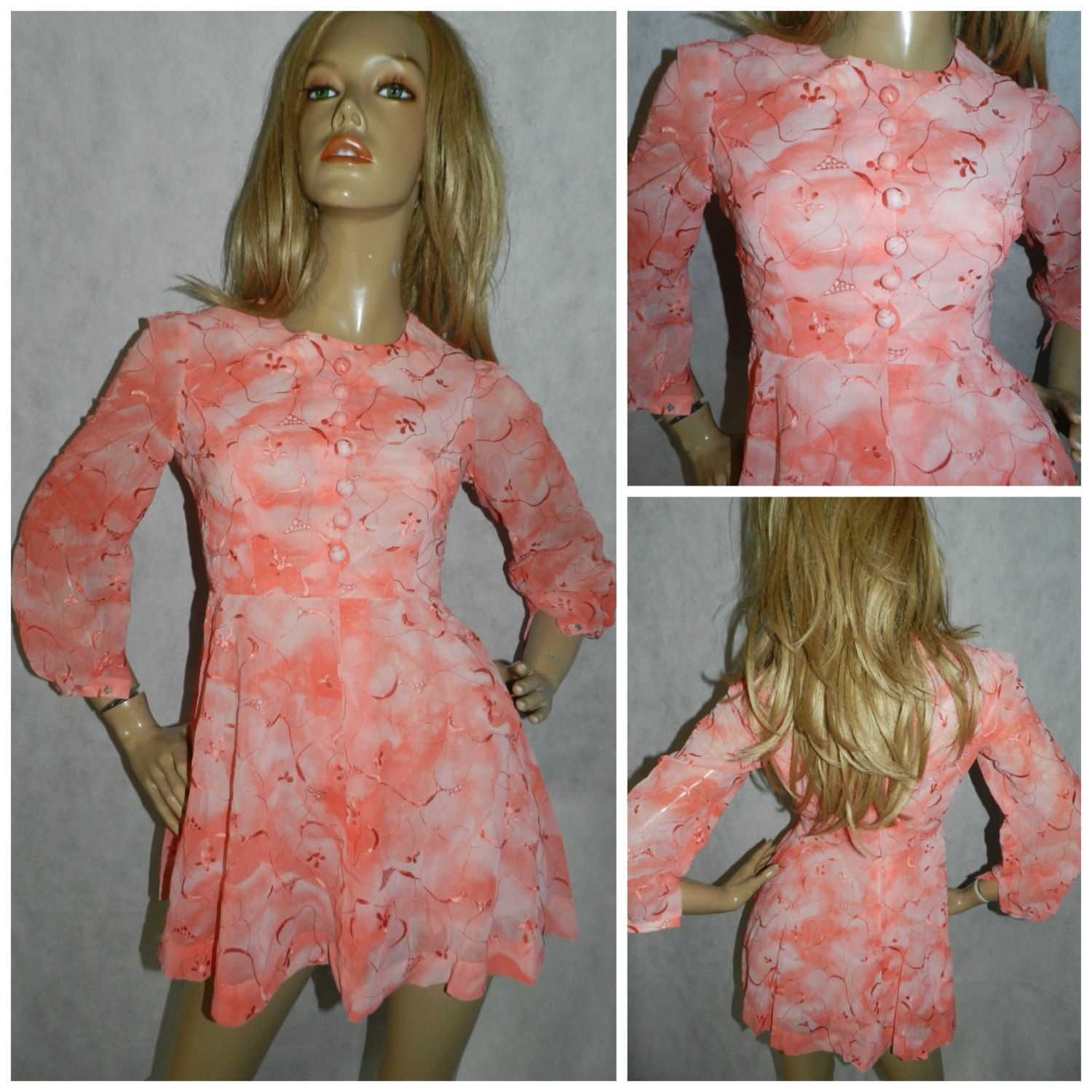Vintage 60s PEACHY PINK Two tone Embroidered Cutwork Dolly MOD mini Gogo dress 8 Xs 1960s Kitsch Scooter by HoneychildLoves on Etsy