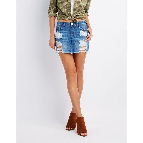 Refuge Distressed Denim Mini Skirt ($27) ❤ liked on Polyvore featuring  skirts, mini
