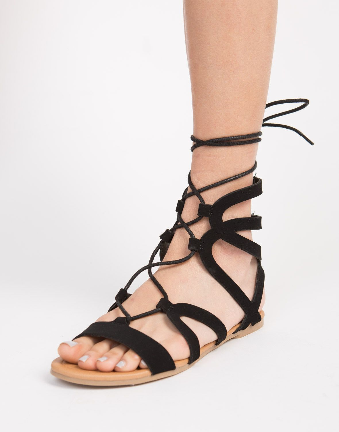 3edd9441e5b1 You won t find any other sandals like these super comfy Strappy Lace-Up  Sandals. Looks perfect when paired with a simple romper and crossbody bag.