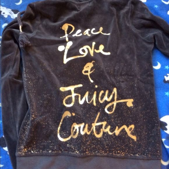 Juicy couture velour jacket Adorable dark gray velour jacket. From has gold zipper and gold specks. Always open to trade and / or negotiate price:) worn once Juicy Couture Jackets & Coats