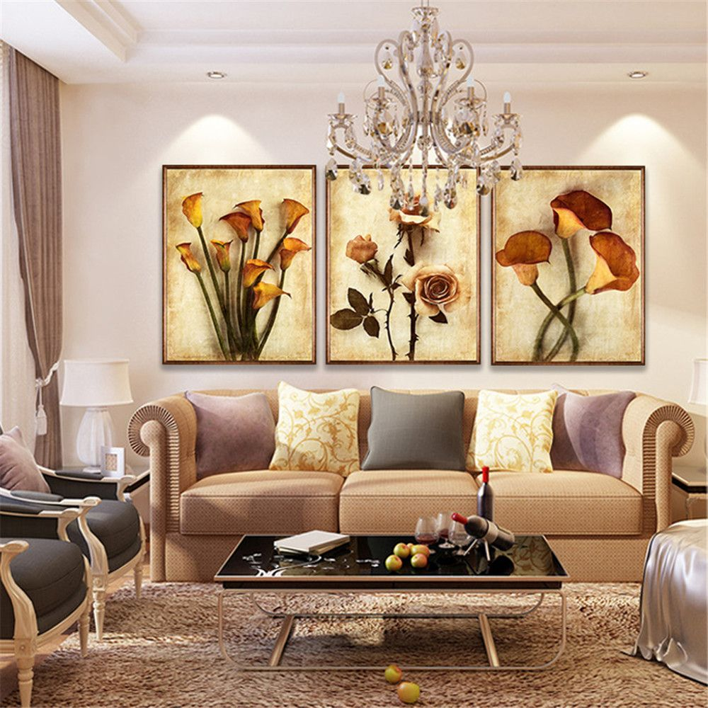 frameless canvas art oil painting flower painting design on wall paint ideas for living room id=43588