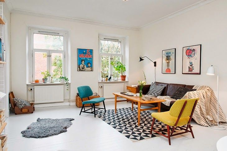 A Scandinavian interior with a colourful retro mood | Vintage chairs ...