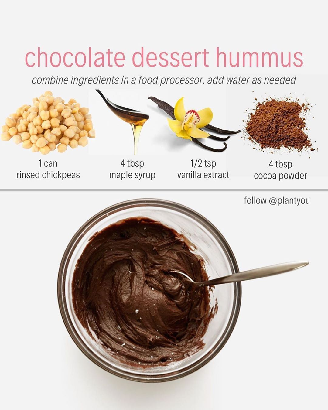 "Daily Nutrition Facts � on Instagram: ""Who's going to try some chocolate dessert hummus tonight?! � Credit: @plantyou