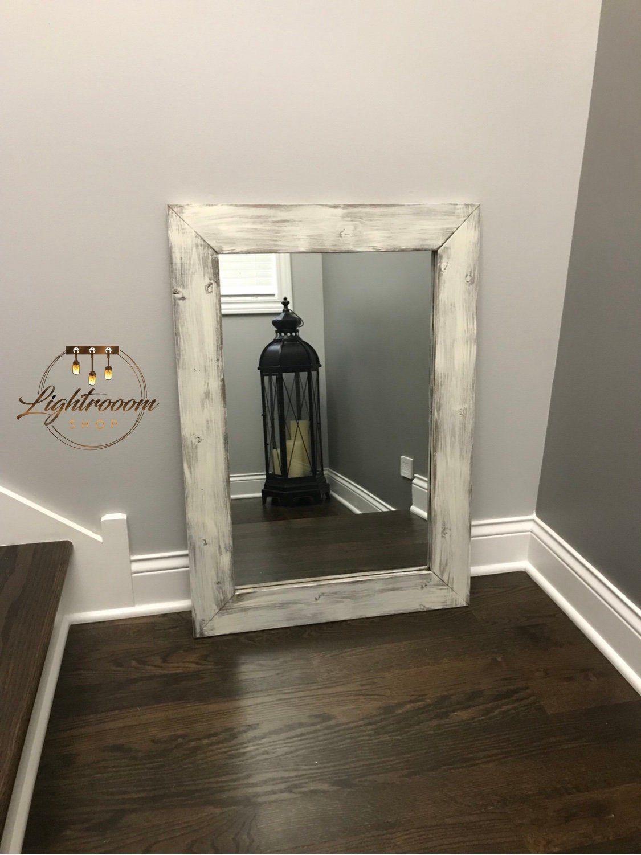 ANTIQUE WHITE Mirror, Bathroom Mirror Farmhouse Decor