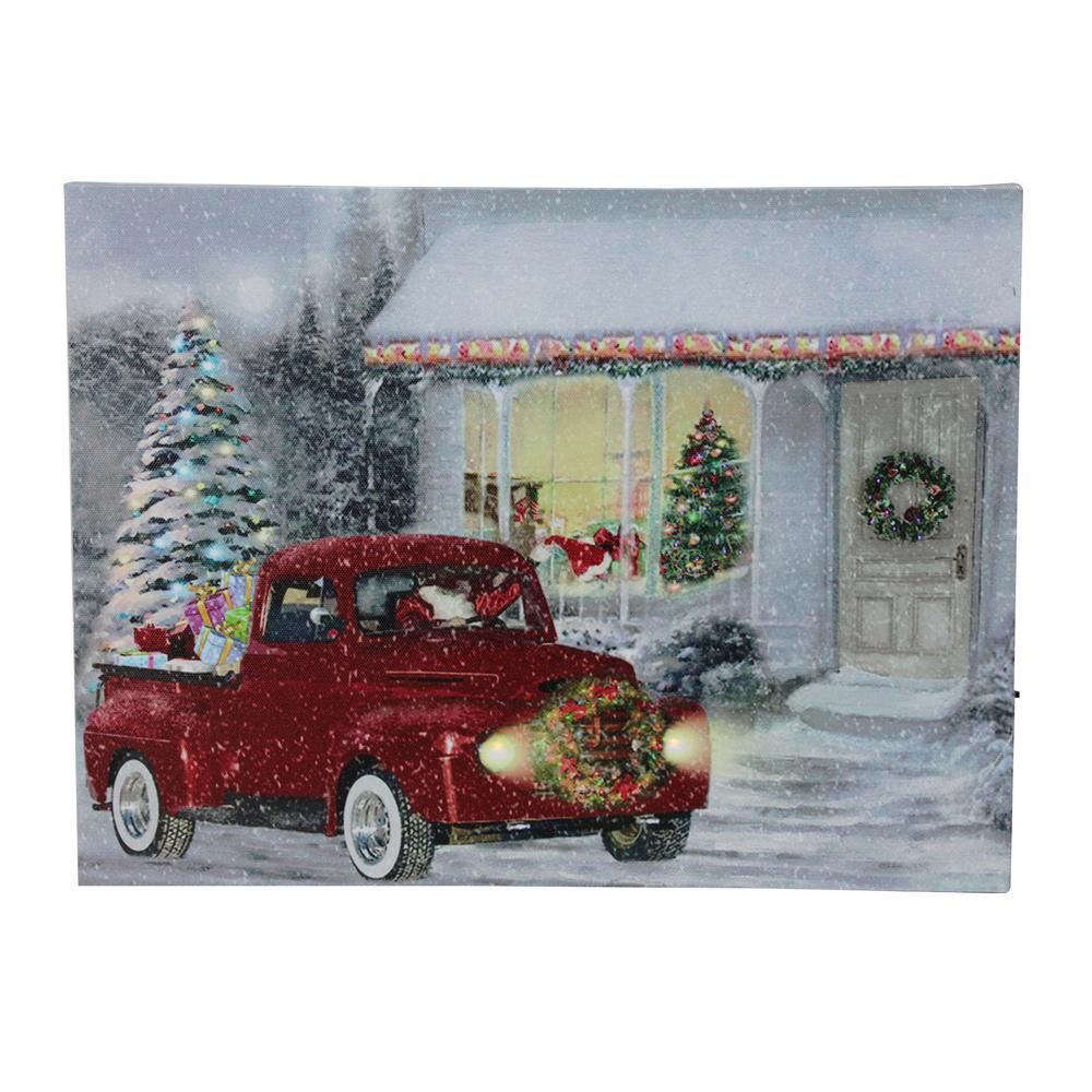 Courtside Market Barn With Truck 16 X 20 Canvas Wall Art Multi Christmasdecorations Christmas Red Truck Christmas Paintings Holiday Decor Christmas