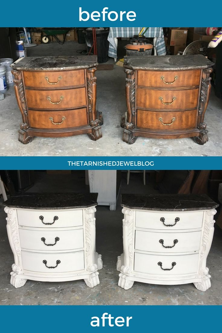 DIY Nightstand Makeover Painted White With Dark Top