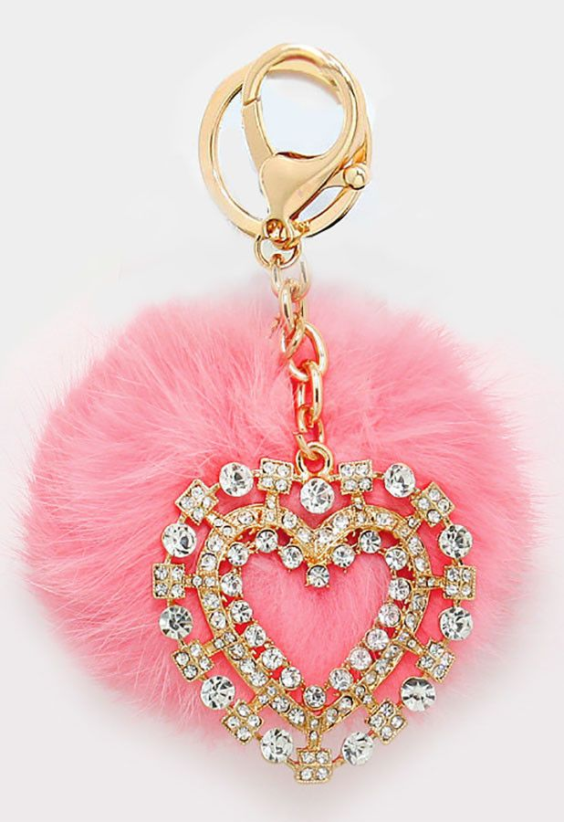 CUTE PINK PUSSY CAT Handbag Keyring Diamante Rhinestone Charm Bling *NEW*