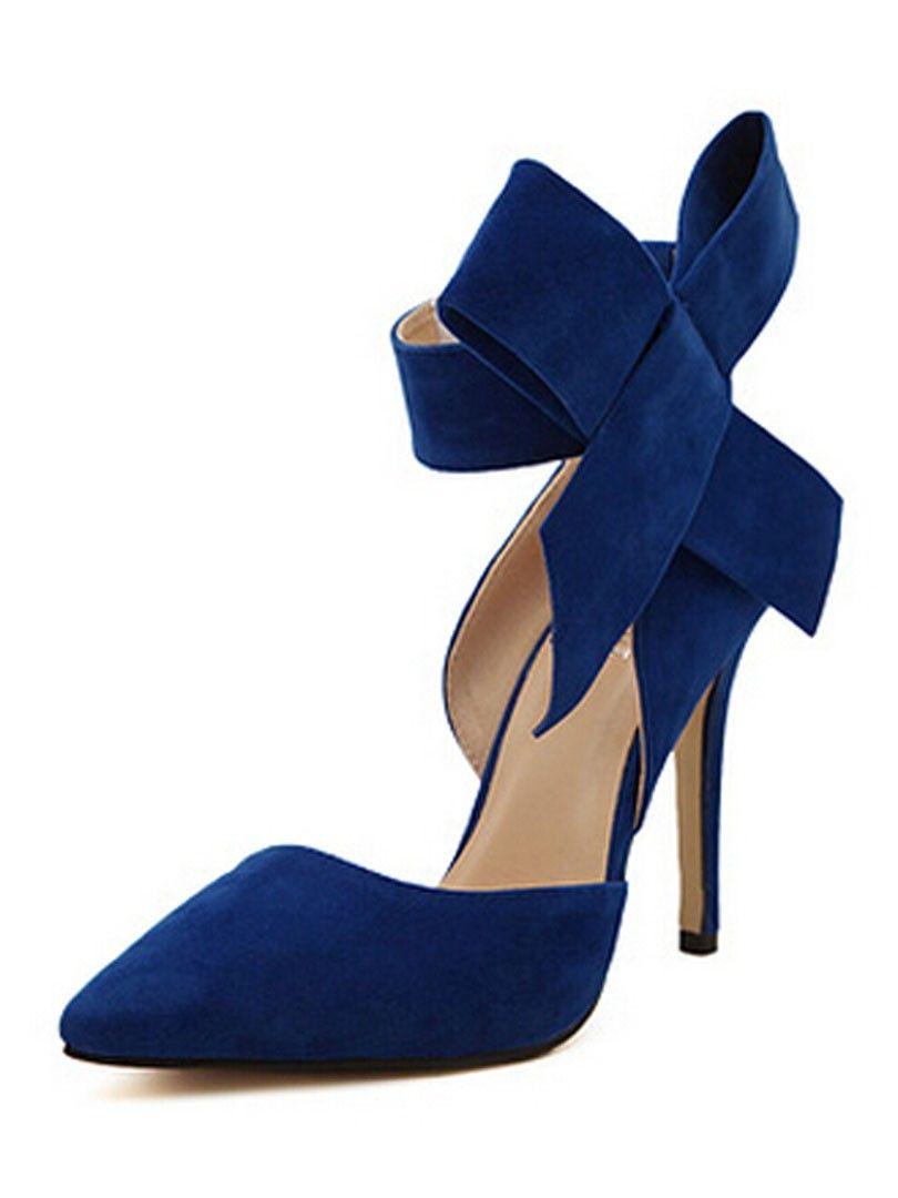 46d20ce79c7 BRIDESMAIDS SHOES - WithChic Blue Detachable Bow Embellishment High Heeled  Pumps