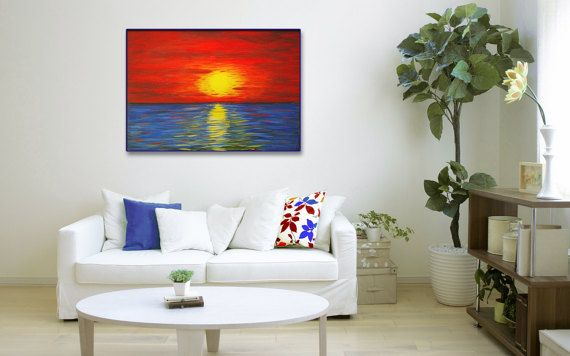 Sunset Abstract Red Blue by DzixGallery on Etsy