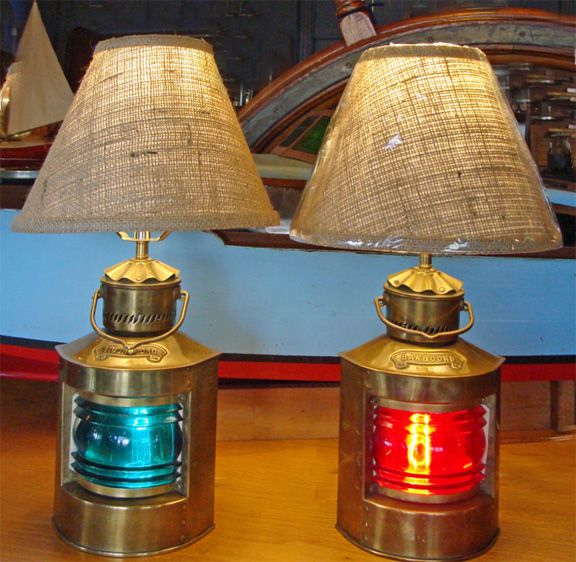 Vintage Brass Port Starboard Table Lamps Repurposed Nautical Lighting Vintage Table Lamp Nautical Lamps Lamp
