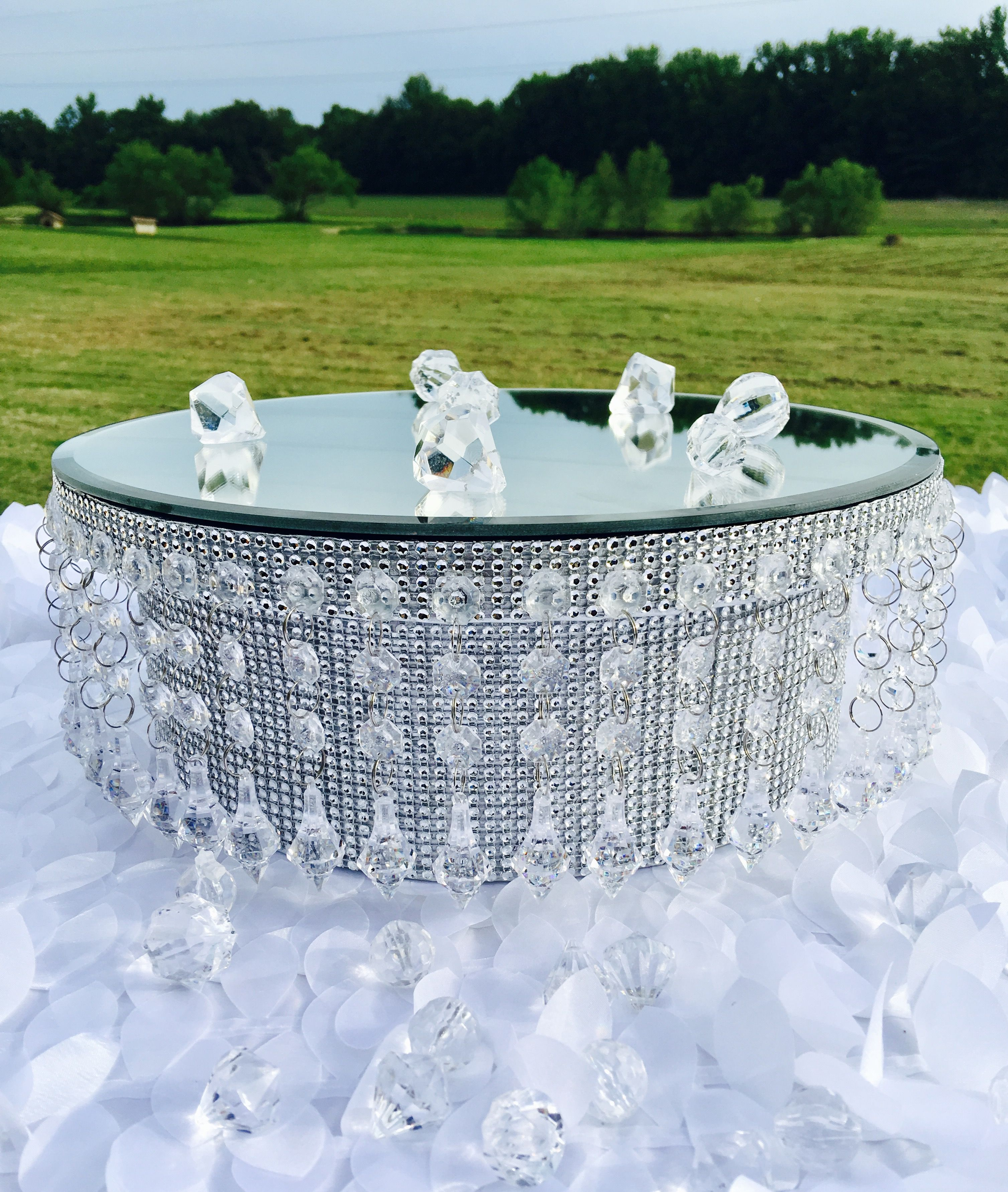 Cake stand 14 round silver bling rhinestone riser with a
