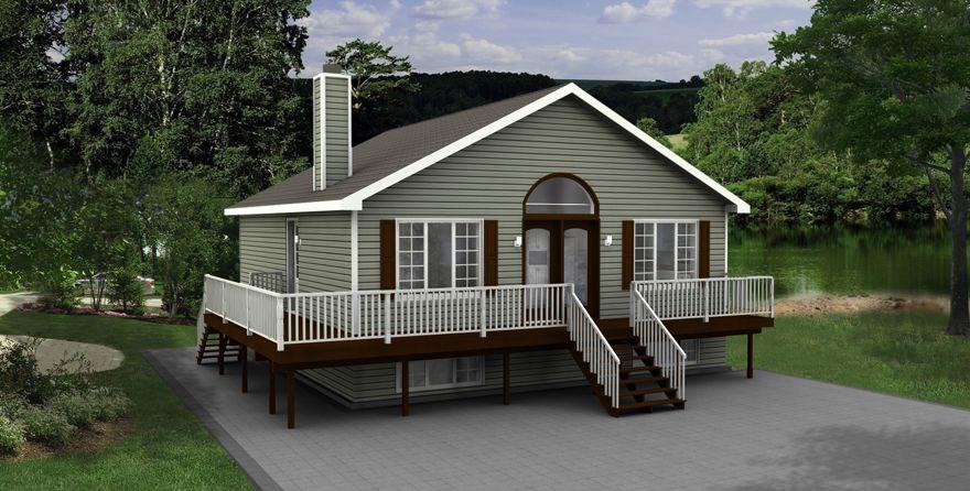 Maison Nordique - Maisons usinées - Style Chalet- Modèle Appalache - plan de maison avec patio