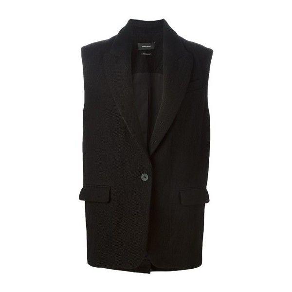 ISABEL MARANT Sleeveless Jacket ($550) ❤ liked on Polyvore featuring outerwear, jackets, grey, gray jacket, isabel marant, no sleeve jacket, sleeveless jacket and grey jacket